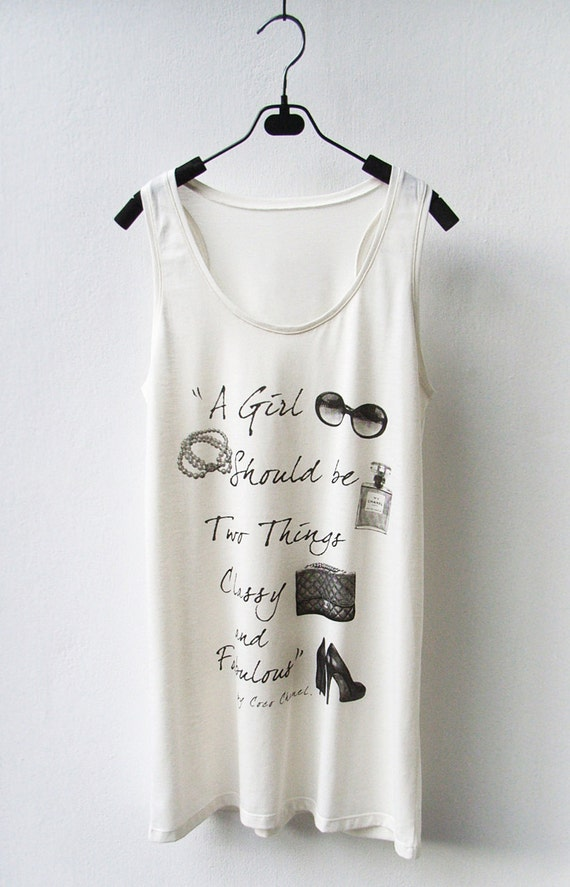 LAST ONE Chanel Quote - Sleeveless Tank Top Mini Dress in CREAM