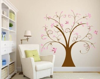 Kids swirly tree with birds and leaves vinyl wall art decal