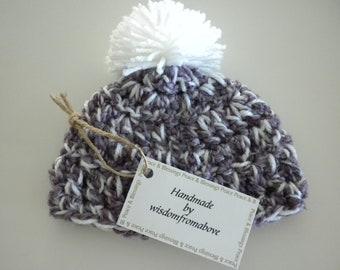 Baby Hat Crochet Newborn Photography Prop Purple Pom Pom White