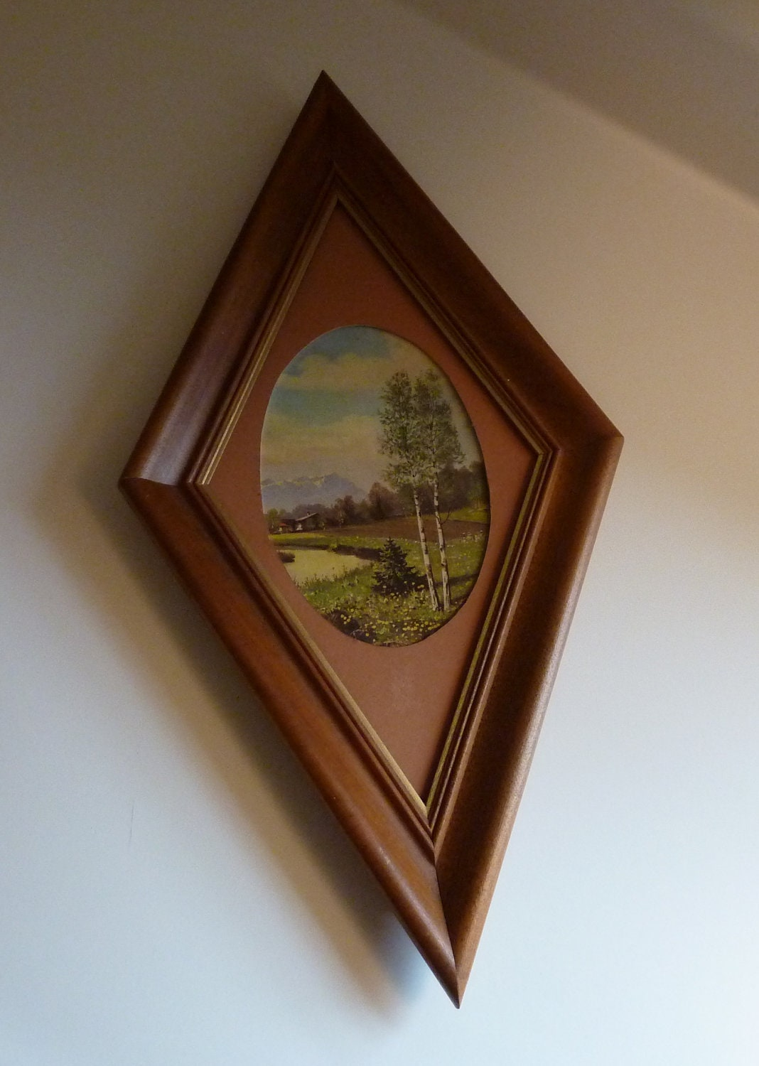 Diamond Shaped Wood Frame With Mounatin Scene Rustic Log