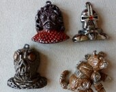Vintage Charms Enamel Monsters Universal Studio Charms Pendants Lot 4 Different 1978 Battlestar Galactica