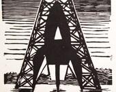 A: Retro Science Fiction Alphabet Letter, Rocket Linocut (woodcut-ish) print