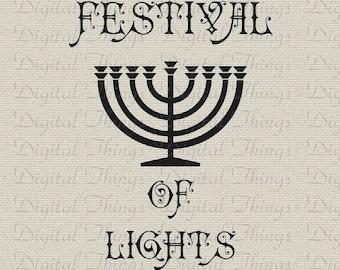 Hanukkah Chanukah Menorah Jewish Holiday Decor Printable Digital Download for Iron on Transfer Fabric Pillows Tea Towels DT487