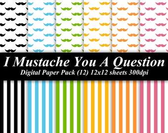 I Mustache You A Question Digital Paper Pack (12) 12x12 sheets 300 dpi scrapbooking blue green orange yellow pink black