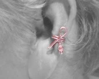 Breast Cancer Awareness Month of October , Ear Cuff Ribbon