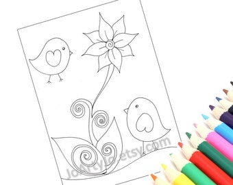 Printable coloring page, PDF instant download, Cute Birds- Page 4