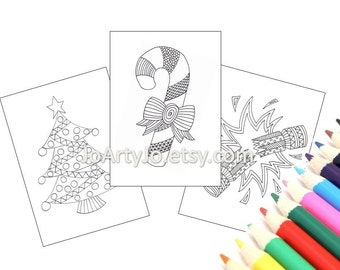 Christmas Coloring Pages, 3 Printable Pages, Zentangle Inspired Holiday Activity (Christmas Coloring Pages 1-3)