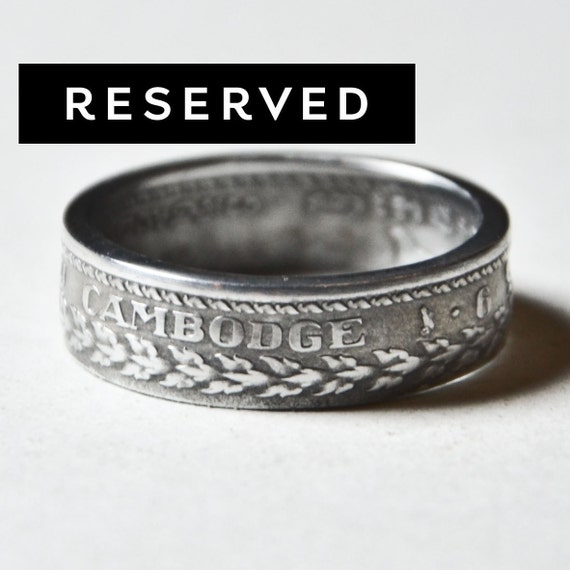 Coin Ring - Cambodia - 10 Sen - Size 8 (Reserved for Brooke)