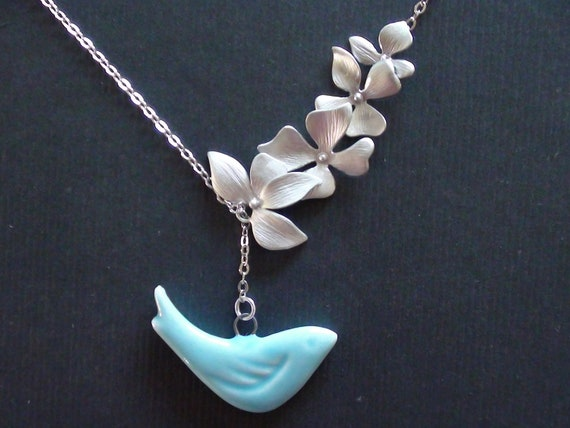 Wild Orchid Flower Connector And Porcelain Blue Bird Pendant -16k White Gold Plated Lariat Necklace