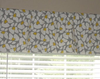 "Premier Prints Helen Valance 50"" wide x 16"" long Lined or Unlined Storm Gray Yellow and White"