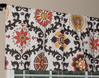 """Valance Premier Prints Rosa Slub Chili Pepper Valance 50"""" wide x 16"""" long Brown Golden Yellow Orange Lined with Cotton Muslin Floral"""
