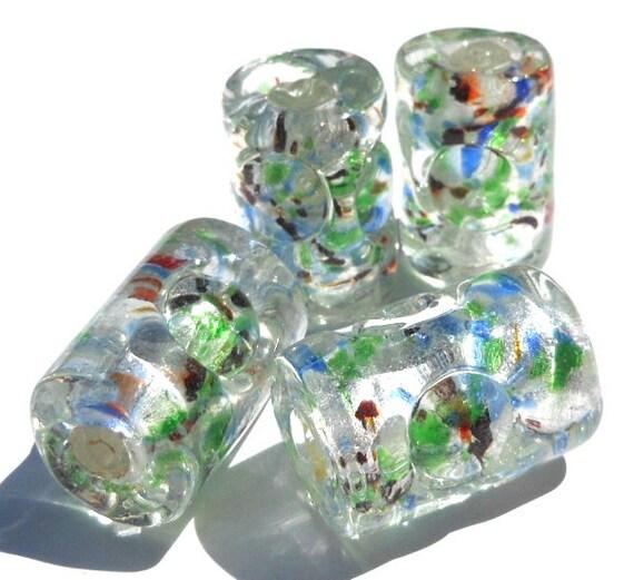 Set of 4 Large Glass Lampwork Foil Confetti Beads