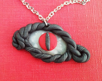 OOAK Handmade Red & Black Dragon Eye Pendant on a Silver Tone Necklace Gothic Steampunk Emo Punk
