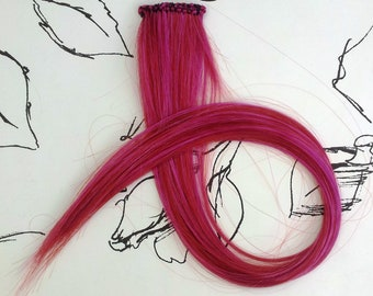 Cherry Red Clip in Inch Hair Extension up to 21 inches long Hand Wefted Gothic Steampunk Cosplay