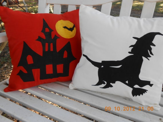 Halloween Throw Pillows for Your Home Decor - One Haunted House and One Witch