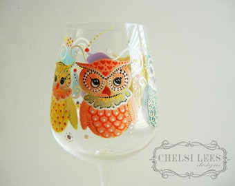 Hand Painted Wine Glass: Owl Design - Owl You Need Is Wine
