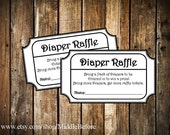 INSTANT DOWNLOAD- Black & White Printable Baby Shower Diaper Raffle Ticket