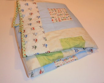 Baby Quilt, Helicopter Quilt, Airplane Quilt, Train Quilt, Fire Truck Quilt, Blue Quilt, Green Quilt, Transportation Theme