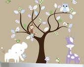 Childrens wall decal - purple, blue, green, jungle set - 0092