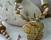 Red Creek Jasper Pendant Bead Autumn Necklace - Mixed Shape Jasper Stone Root Chakra Necklace