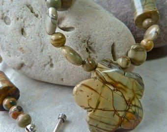 Red Creek Jasper Pendant Bead Autumn Necklace - Mixed Shape Jasper Stone Root Chakra Necklace