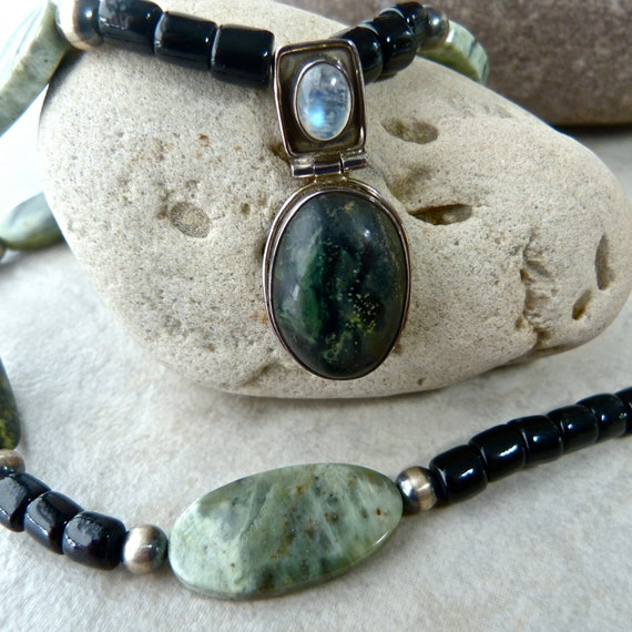 Green Jasper, Rainbow Moonstone, Burnished Silver Bead Elegant One of a Kind Necklace