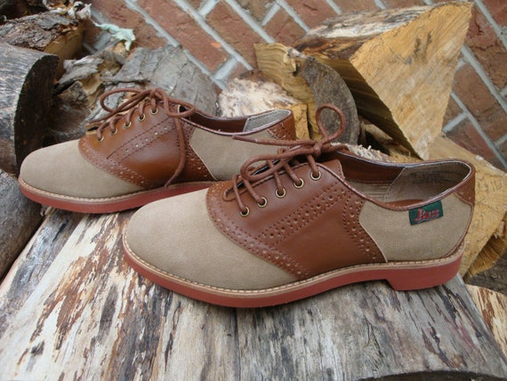 Vintage Leather Saddle Shoes Brown And Tan BASS Oxfords