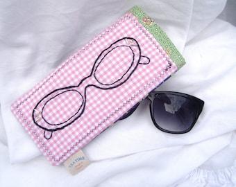 Retro Hand embroidered cat eye eyeglasses sunglasses case pouch holder
