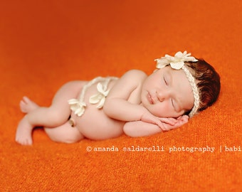 newborn baby photography prop,tan beige cream halo headband with flowers,baby shower gift or photography prop