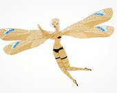 Dragonfly articulated art paper doll, hand painted paper puppet, gift for her, unique gift, greeting card, paper dolls by dubrovskaya