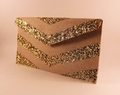 SALE Gold Glitter Chevron Envelope Clutch- last one