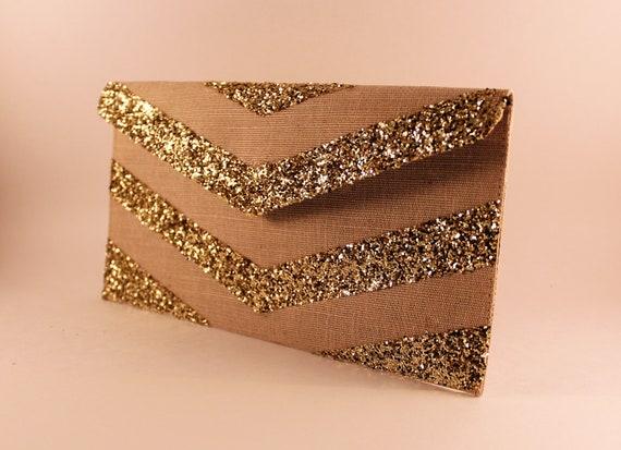 SALE Gold Glitter Chevron Envelope Clutch- last one