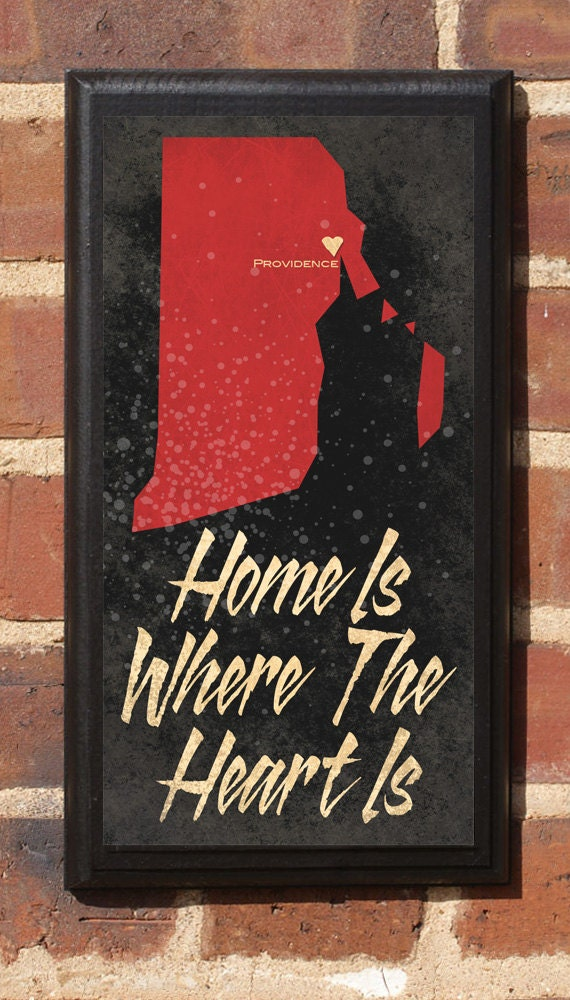 Home Is Where The Heart Is - Customizable Rhode Island Vintage Style Plaque/Sign Decorative & Custom