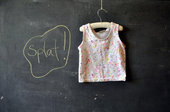 little girls 80s tank top, white with neon splats, pink, orange, yellow, etc, size3 , 4 , 5