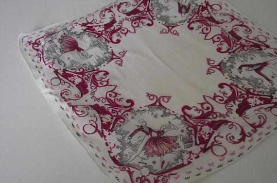 Vintage Handkerchief hankie Victorian French Ballet Dancers  red & white