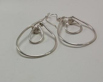 Sterling Silver Dangle Earrings - Double Teardrop
