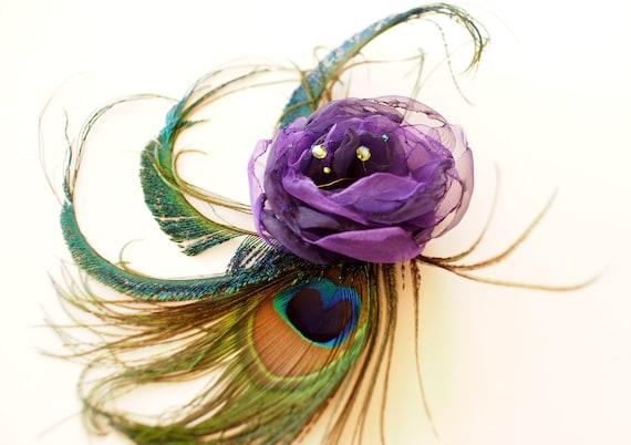 Purple Wedding hair clip, Peacock Bridal fascinator , Purple flower and peacock feathers .