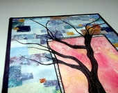 "Quitled wall-hanging, stitched tree design on abstract background, mounted on 16""x20"" canvas stretcher bars"