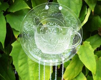 Antique 1930 Sandwich Glass Wind Chime, Vintage Tea Cup & Saucer Crystal Suncatcher, Stained Glass Windchimes, Unique Yard Art, Garden Decor