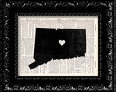 I Heart Connecticut - State Map - Map Art Print Personalized - Vintage Dictionary Print - Book Print Page Art  Vintage Book Art