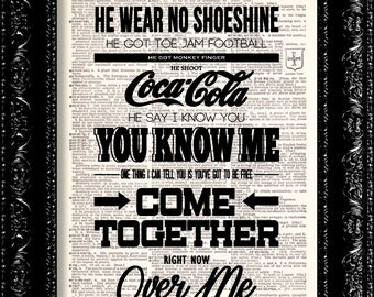 sale, The Beatles Come Together, Lyrics Music Poster Vintage Dictionary Print Vintage Book Print Page Art Upcycled Vintage Book Art