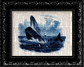 Moby Dick - Herman Melville Book Cover - Vintage Dictionary Print Vintage Book Print Page Art Upcycled Vintage Book Art