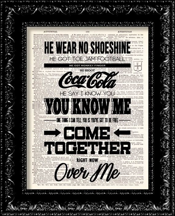 Sale the beatles come together lyrics music poster vintage for Together dictionary