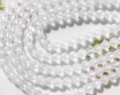 6mm Frosted Quartz Crystal Round Gemstone Beads, 15 Inch Strand (IND2C11)
