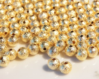 6mm Gold Plated Brass Stardust Beads, 25  PC (INDOC249)