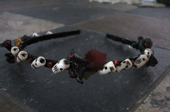 Halloween/Dia de Los Muertos Headband with Skulls and Crystal Beads