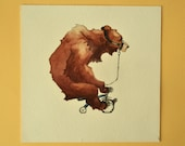Circus Bear Watercolor Painting Tricycle Original 7x7