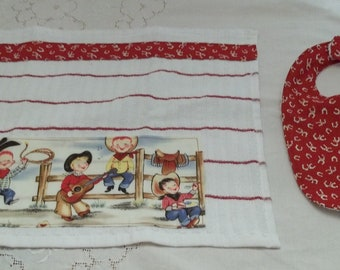 Cute Retro Cowboy Western Bib and Burp Cloth Set Michael Miller Lil Cowpoke or Lil Cowgirl
