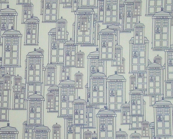 Police Box Fabric Fat Quarter - Tardis outlines on white