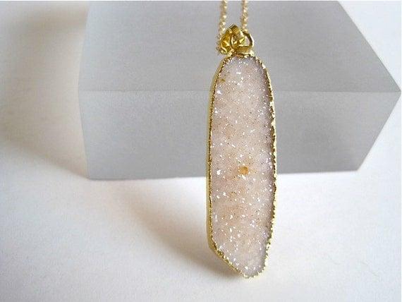 Creamy White Agate Druzy Gold Necklace